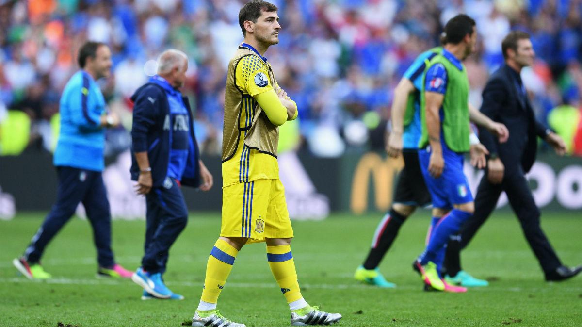 Casillas, con gesto serio tras el España-Italia (Getty)