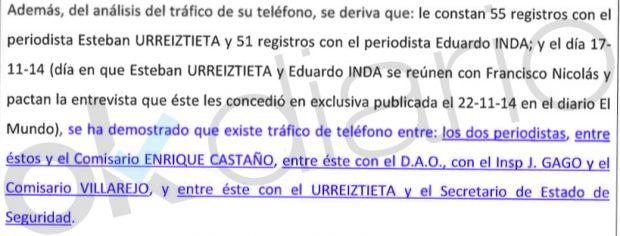 Llamadas registradas por el comisario Marcelino Martín Blas al secretario de Estado de Seguridad, Francisco Martínez.
