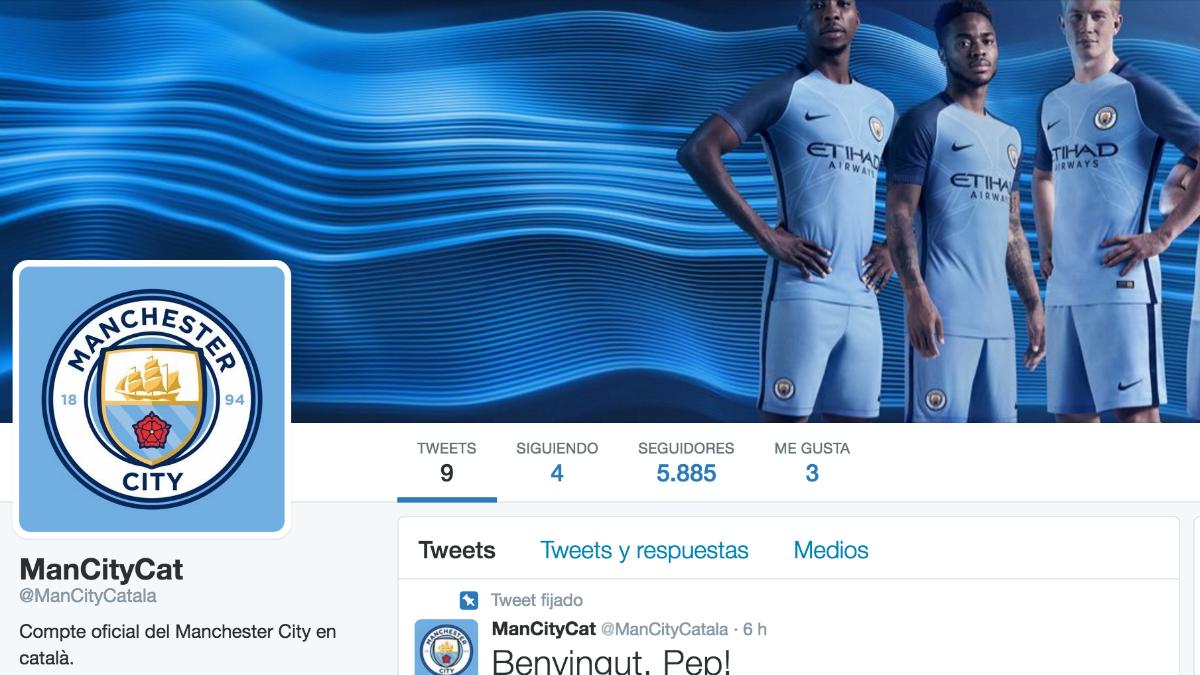 El Manchester City inaugura  su cuenta de Twitter en catalán.