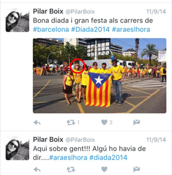 Pilar Boix, jefa de comunicación de Balearia, el 9N de 2014, presumiendo de secesionismo. (DolçaCat)