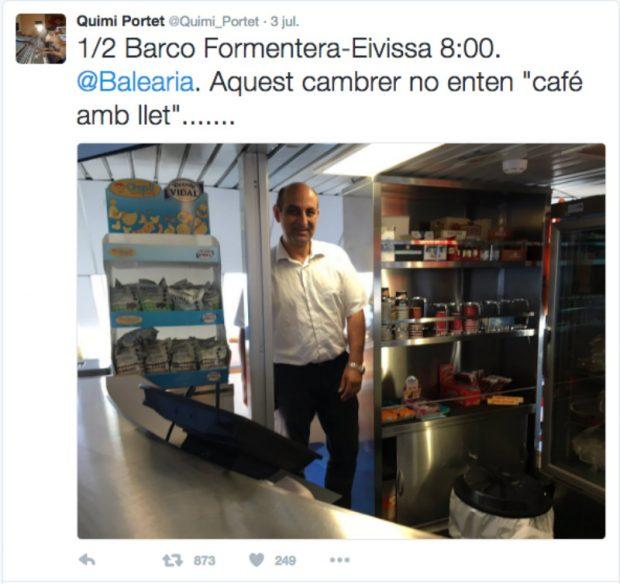 Este es el tuit que subía Quimi Portet para denunciar que el camarero protagonista de la instantánea no sabía catalán. (Foto: TW Quimi Portet)