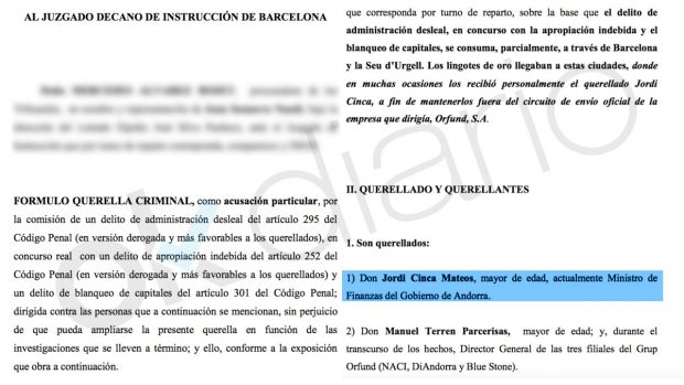 Querella criminal contra Jordi Cinca.
