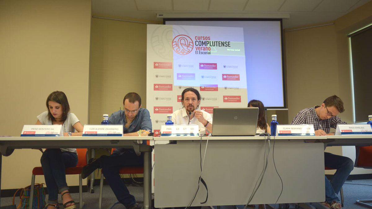 La conferencia a la que han asistido varios dirigentes de Podemos, entre ellos, sus secretario general, Pablo Iglesias (Foto: Twitter)