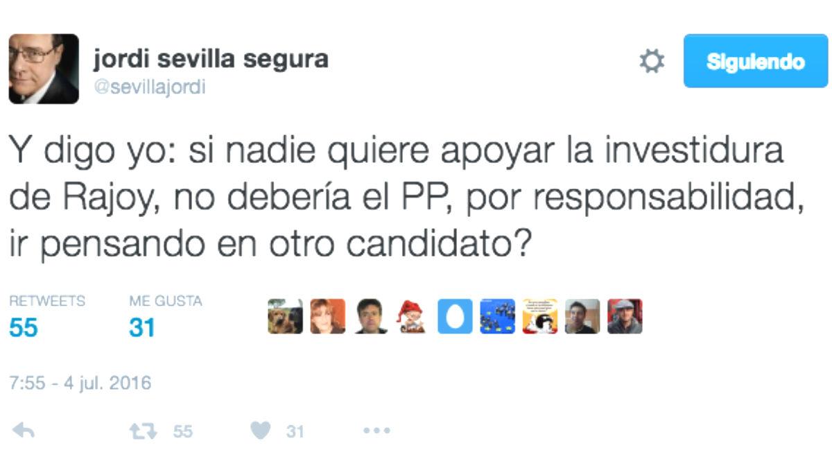 El responsable económico del PSOE, Jordi Sevilla, propone ahora que el PP cambie de candidato (Foto: Twitter)