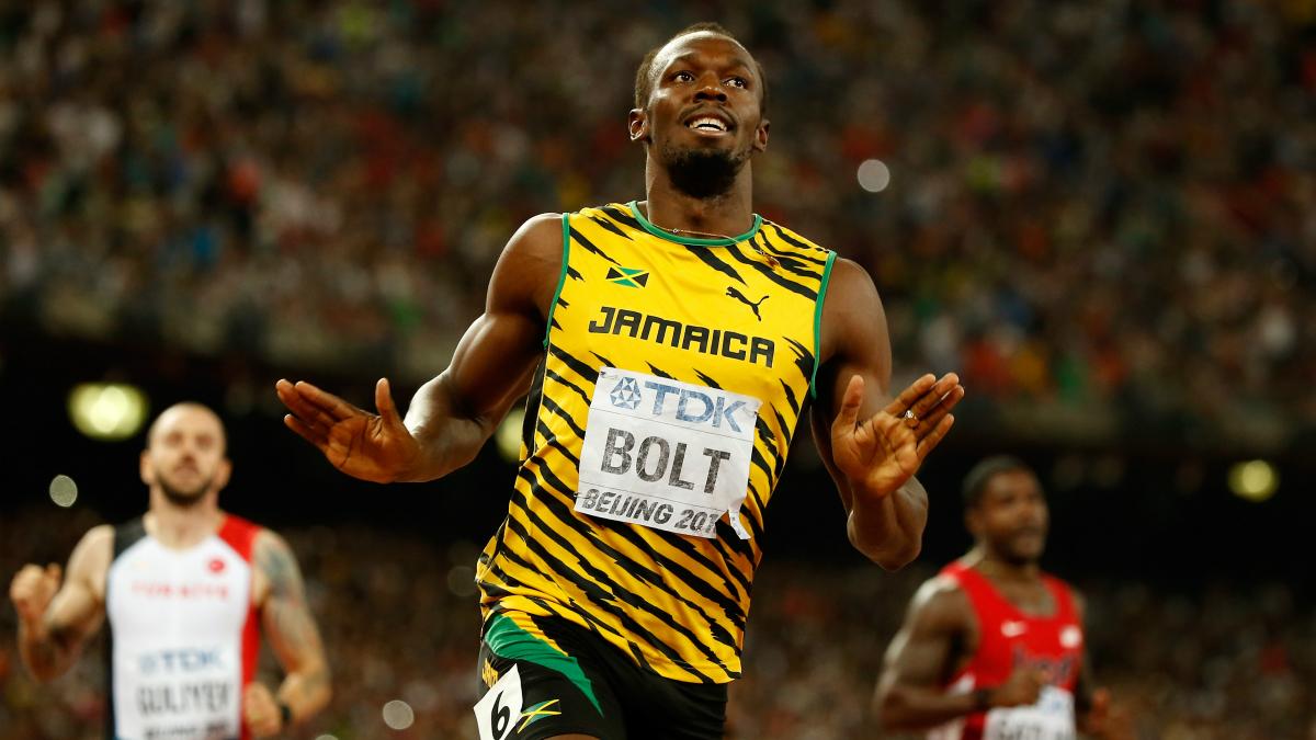 Usain Bolt, después de una carrera. (Getty)
