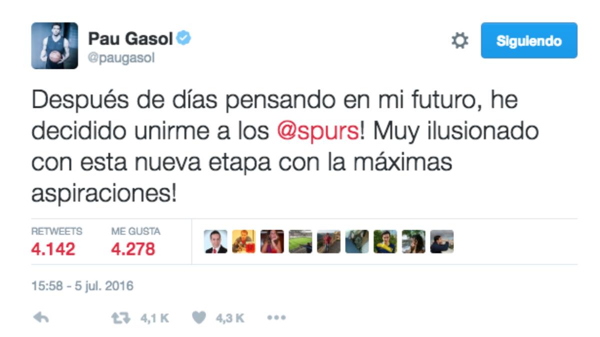 Captura del tuit de Pau Gasol.