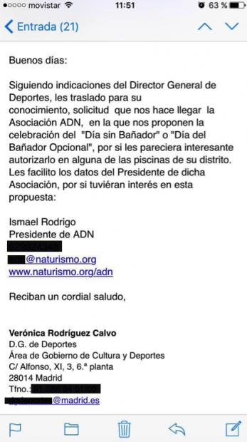 Email del equipo de Carmena para impulsar el nudismo en Madrid. (Clic para ampliar)