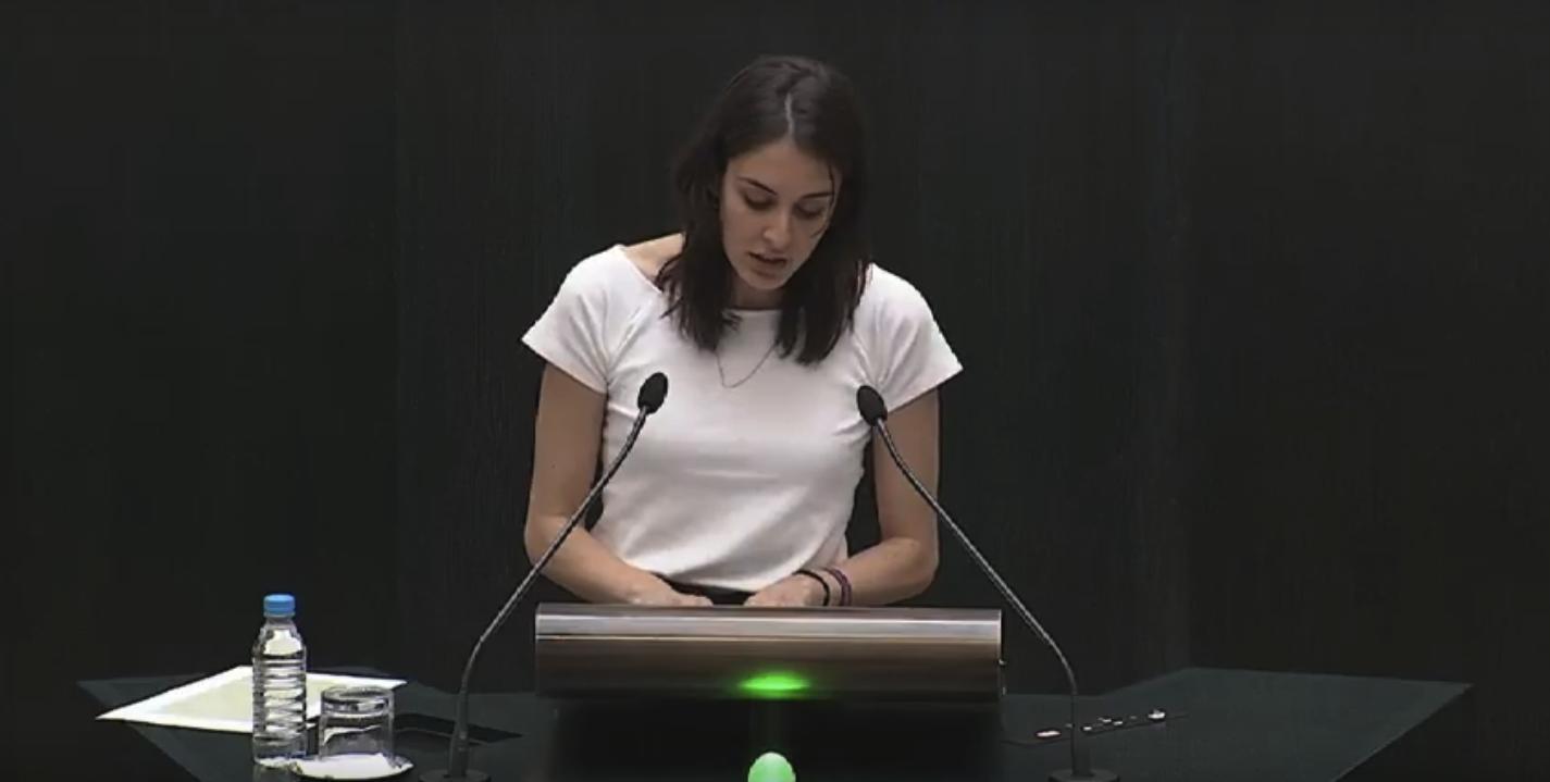 La política de Podemos Rita Maestre en el Pleno. (Foto: YT)