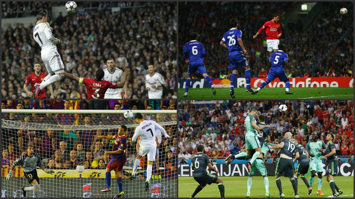 Cristiano Ronaldo, en pleno vuelo.