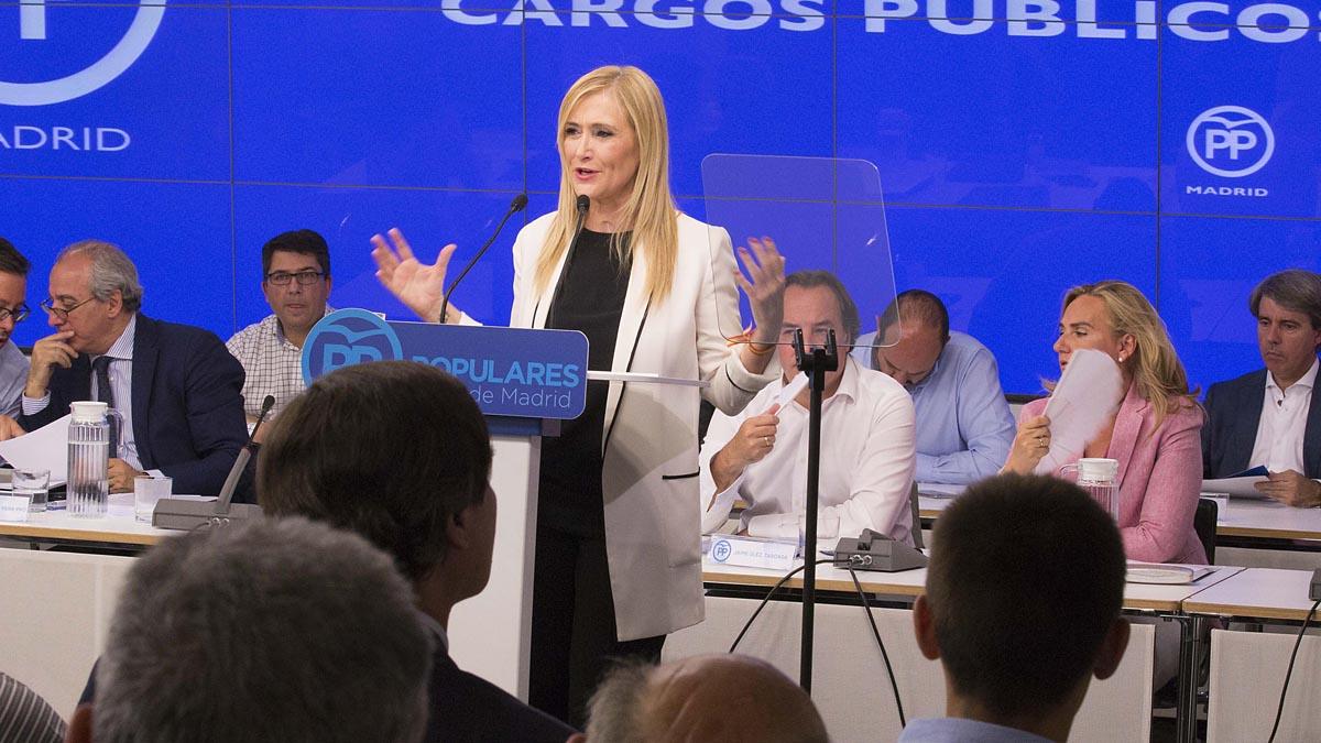 Cristina Cifuentes durante la reunión de la Junta Directiva regional del PP (Foto: Partido Popular)