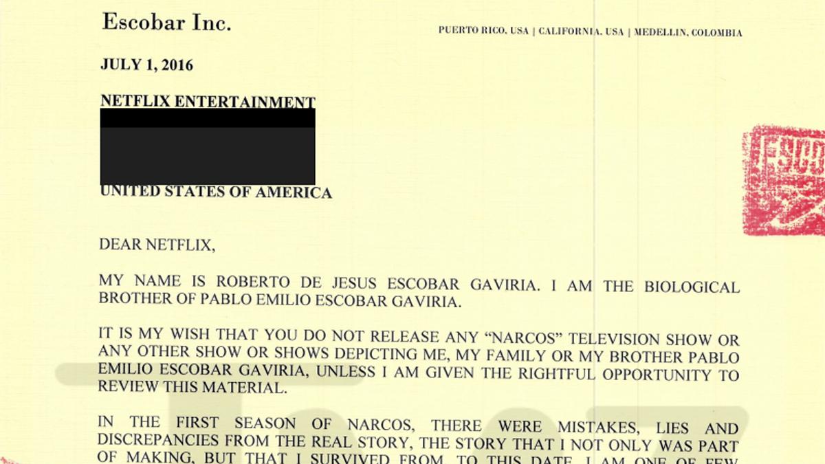 Carta de Roberto Escobar a Netflix publicada por 'TMZ'.