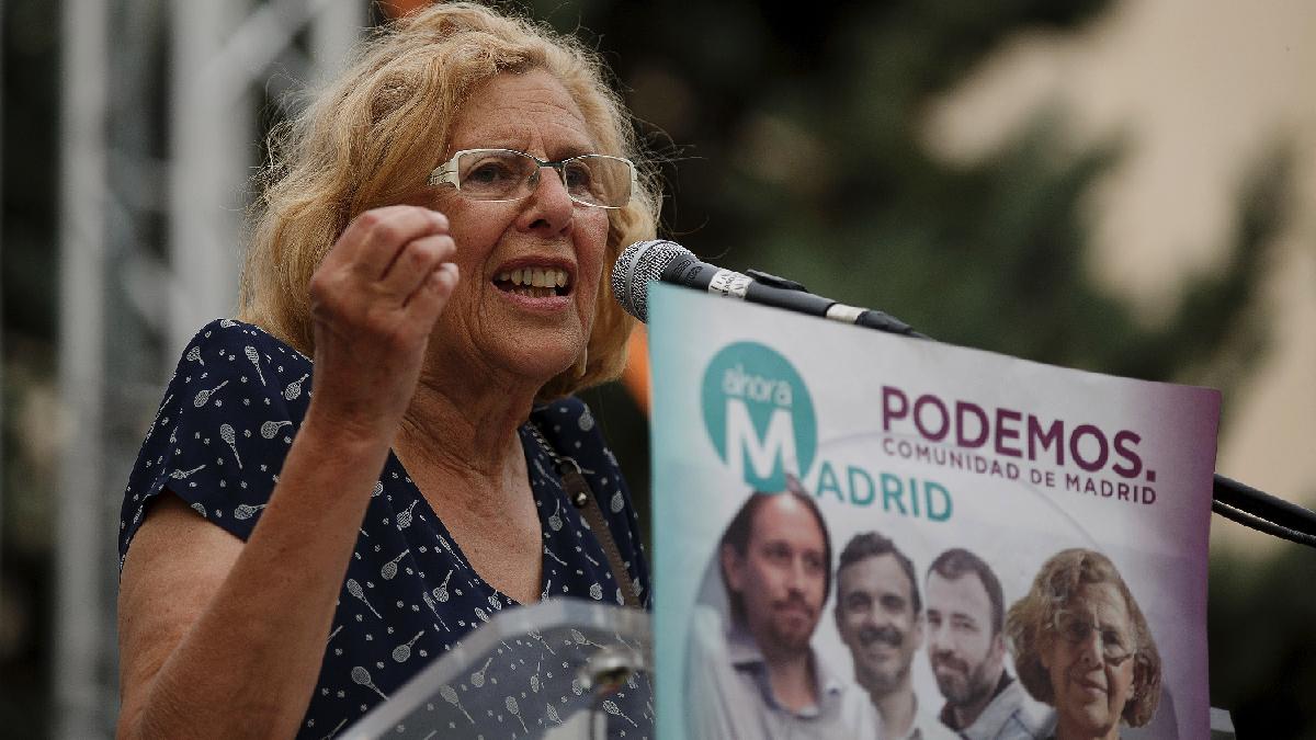 La alcaldesa Carmena en un mitin de Ahora Madrid. (Foto: GETTY)