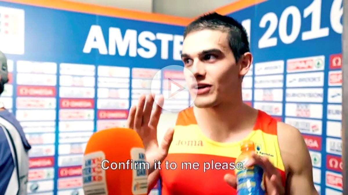 Bruno Hortelano, en el momento de la entrevista en la que se entera de que es campeón.