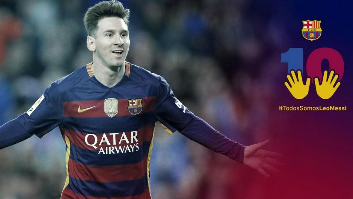 El Barça apoya a Messi con el con el hashtag  #TodosSomosLeoMessi . (fcbarcelona.es)