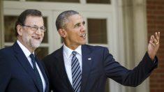 El presidente en funciones, Mariano Rajoy, junto a Barack Obama, en Moncloa. (EFE)