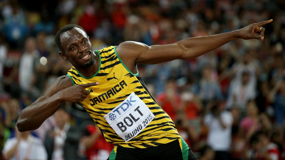 Usain Bolt celebra una victoria. (Getty)