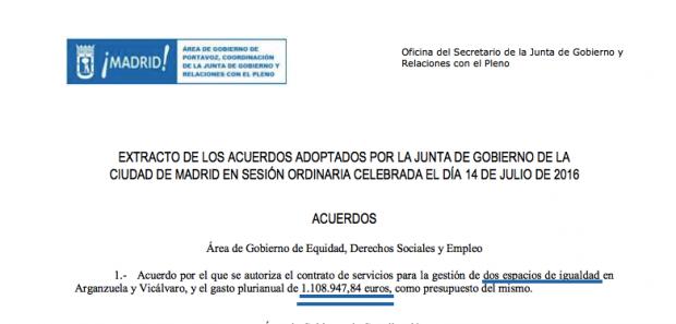 """Acuerdo del pleno sobre el gasto en """"espacios de igualdad"""". (Clic para ampliar)"""