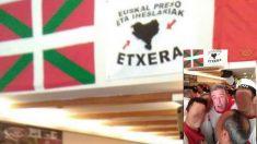 El alcalde de Pamplona, Joseba Asirón, celebrando los Sanfermines en un bar con emblemas proetarras. (Foto: TW)