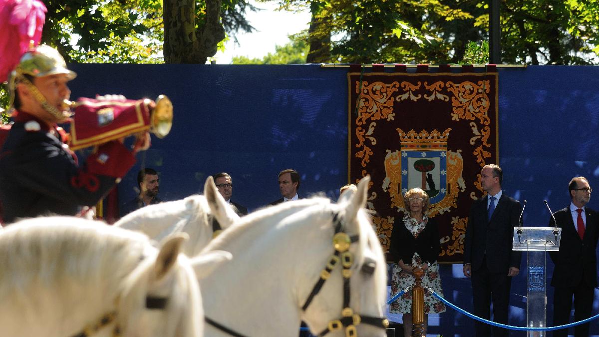 La alcaldesa Carmena en un acto de la Policía Municipal. (Foto: Madrid)