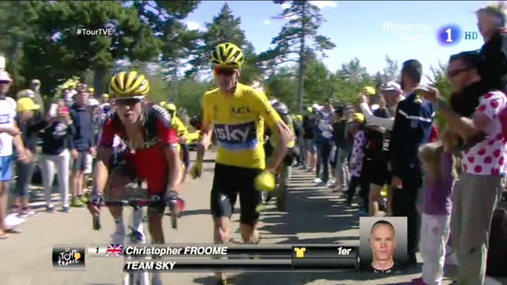 Chris Froome corriendo en el Mont Ventoux (TVE)