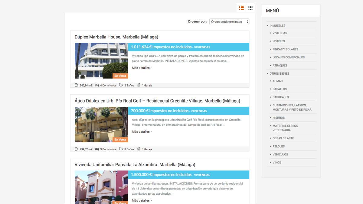 Así se presenta la página web donde se venden las propiedades que le fueron intervenidos a Roca.