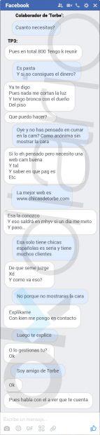 """Reproducción de la conversación por Facebook entre el colaborador de 'Torbe' y """"TP3""""."""