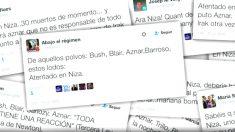 Mensajes publicados hoy por simpatizantes de Unidos Podemos en las redes sociales sobre el atentado de Niza (Foto: Twitter)