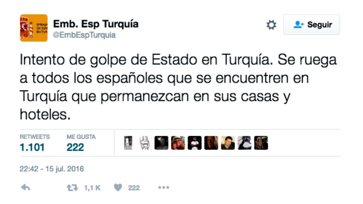 La embajada en Turquía alerta a los españoles que no salgan de sus residencias.
