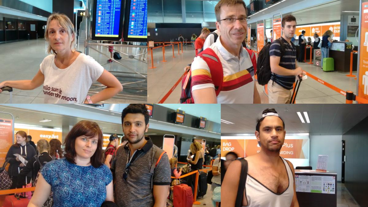 Algunos de los pasajeros de vuelo Barcelona-Niza que han hablado antes de embarcar. (Foto: OKDIARIO)