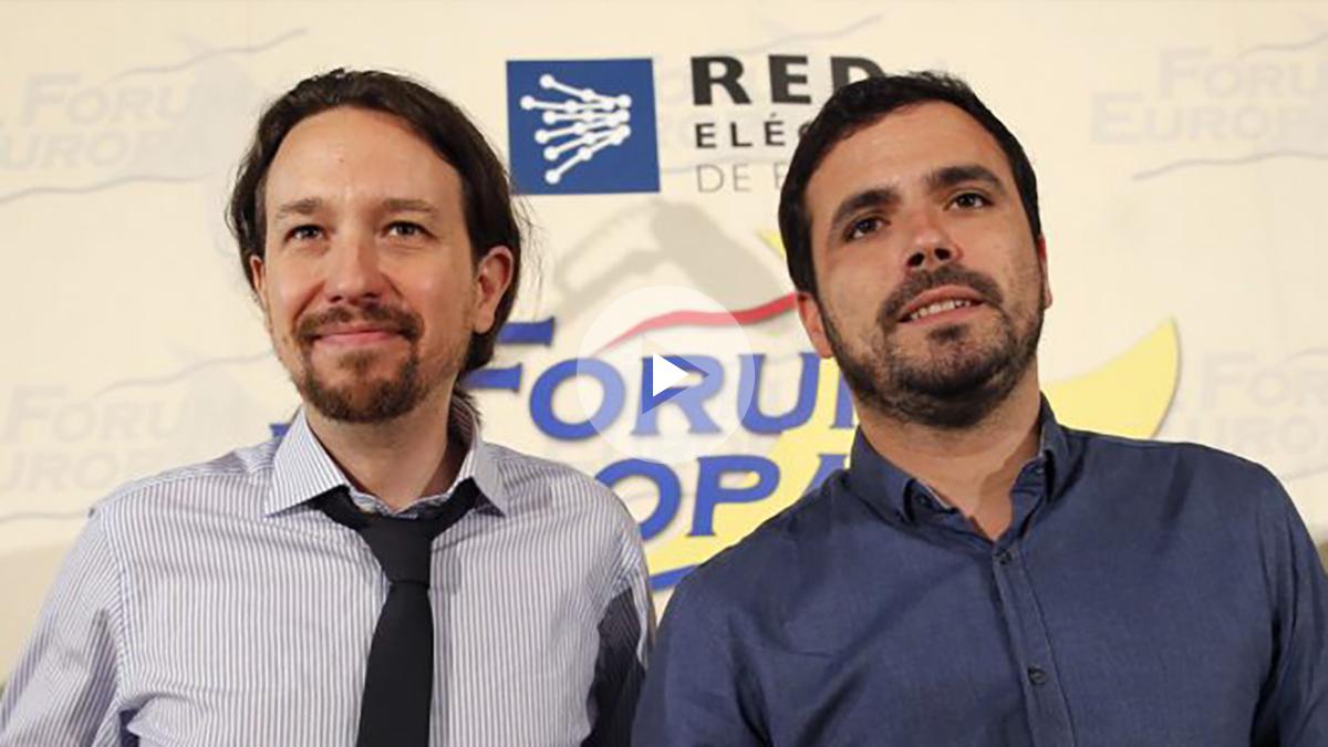Pablo Iglesias y Alberto Garzón en el Nueva Economía Fórum. (Foto: EFE)