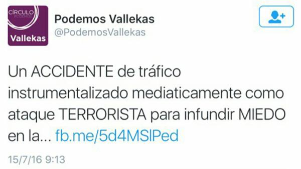 """Podemos Vallecas dice que el atentado de Niza fue un """"accidente de tráfico"""""""