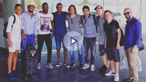 Puyol, Deco, Abidal y Eto'o antes de viajar a Turquía. (Intagram de Puyol)