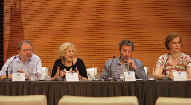 La alcaldesa presentando el plan de DDHH con Barbero, Valiente y Gómez. (Foto: Madrid)