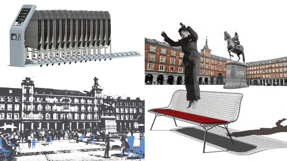 Posibles nuevos bancos del Ayuntamiento de Madrid. (Imágenes: Decide Madrid)