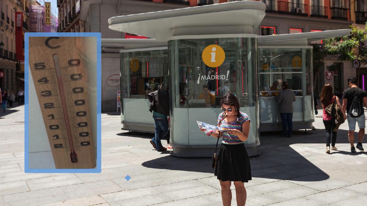 Una de las casetas-invernadero de Carmena para el turismo marcando 43 grados centígrados. (Foto: Madrid / OKDIARIO)