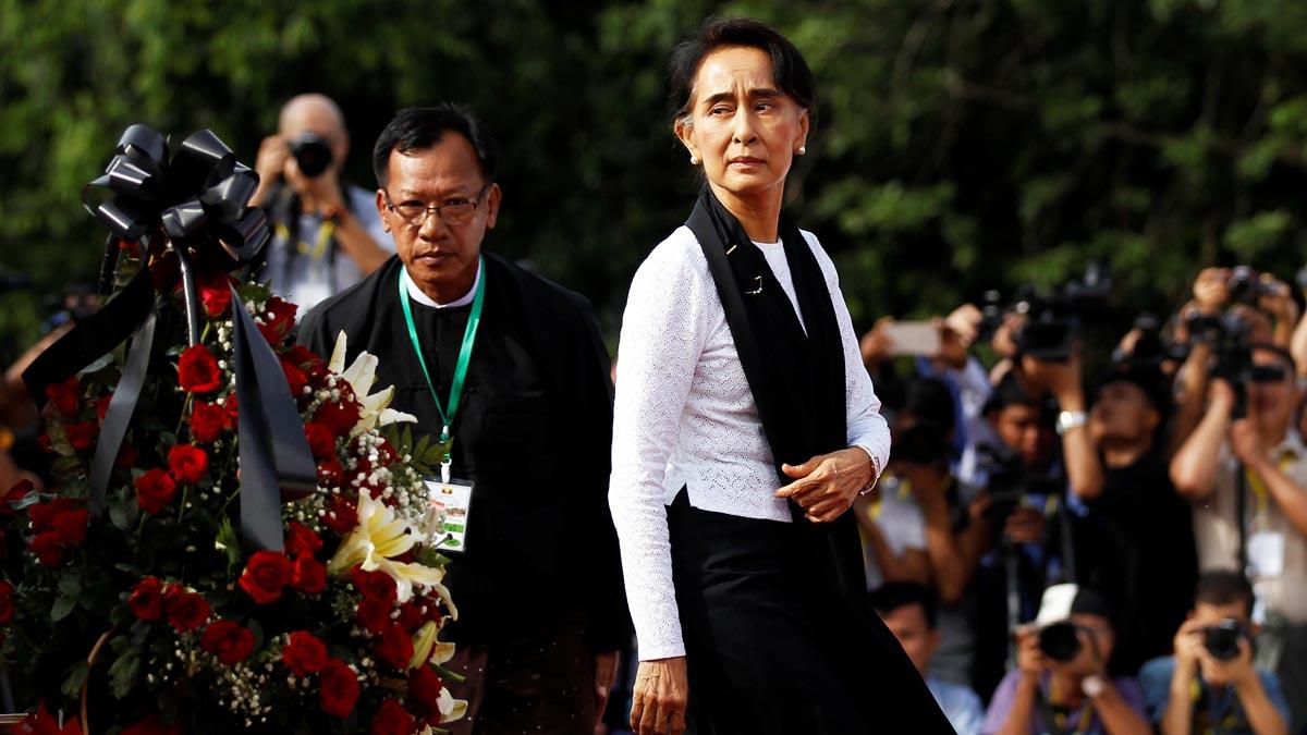 Suun Kyi en el acto de conmemoración de Suu Kyi (Reuters)