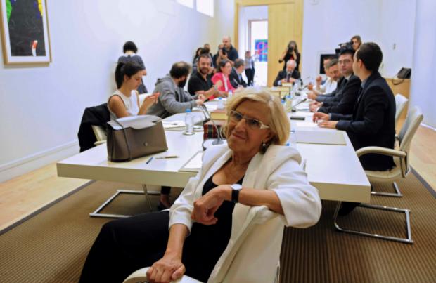 Carmena en su primera Junta de Gobierno. (Foto: Madrid)