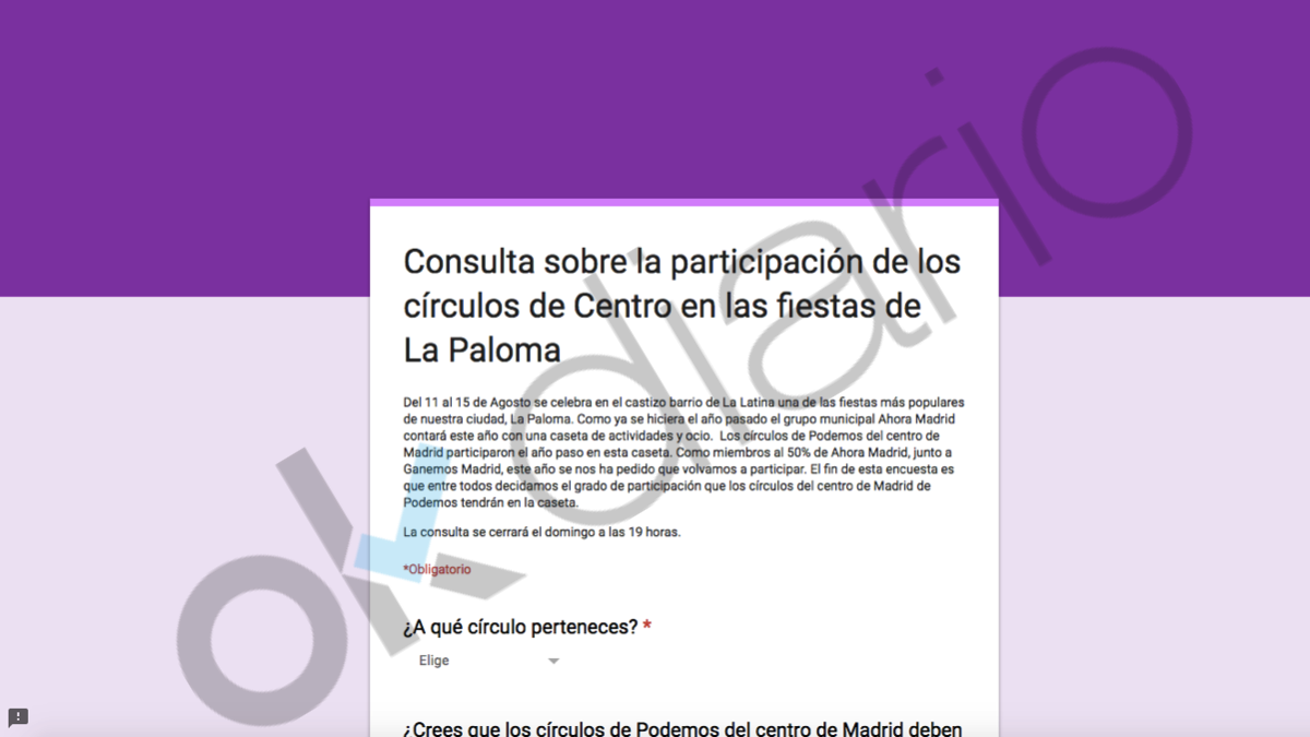 Consulta de Podemos Madrid donde admiten financiación ilegal. (Imagen: OKDIARIO)