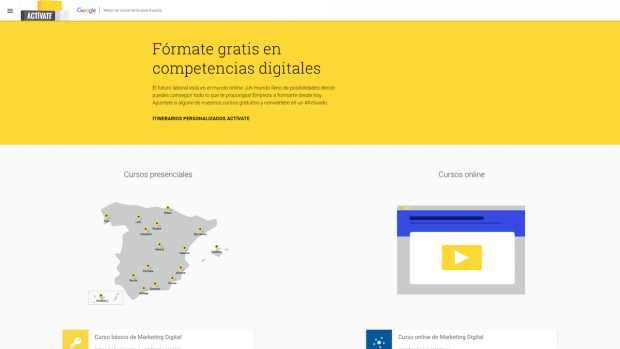 Web del programa Actívate de Google.