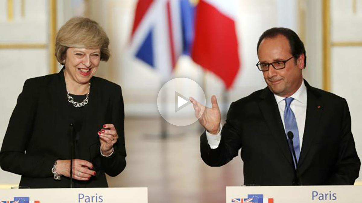 Theresa May y François Hollande, en el Palacio del Elíseo. (Reuters)