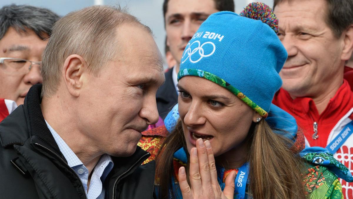 Vladimir Putin y Yelena Isinbayeva. (Getty)