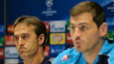 Lopetegui y Casillas, en una rueda de prensa en un partido de Champions con el Oporto. (AFP)