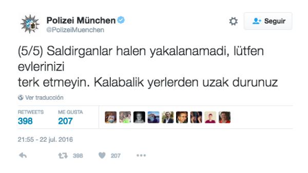 Tuit en turco de la policía de Múnich tras el atentado.