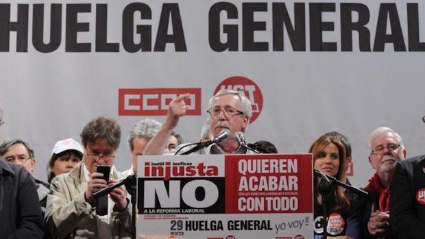 Fernández Toxo en la huelga general contra la reforma laboral