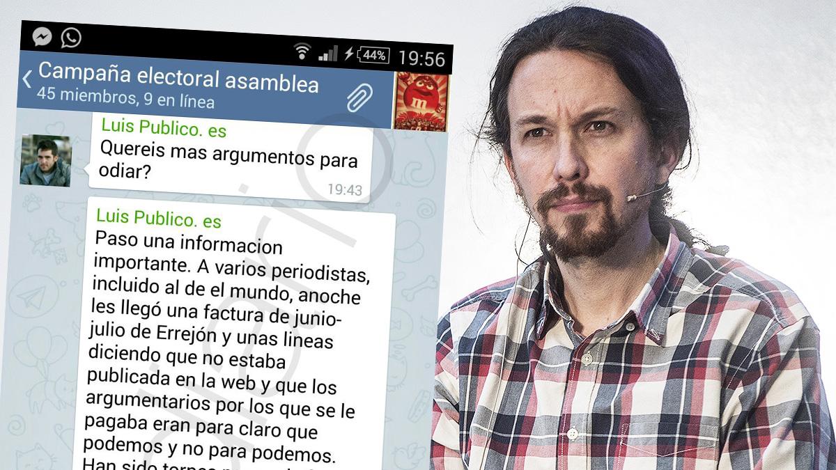 Los mensajes enviados por un redactor del diario Público a Pablo Iglesias.