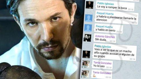 Pablo Iglesias posando como un boxeador, junto a los mensajes que escribió en Telegram.