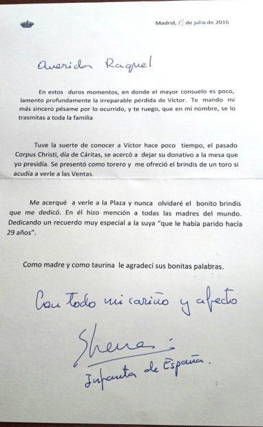 Carta Infanta Elena a la viuda de Víctor Barrio