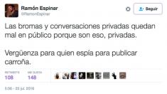 Mensaje escrito hoy en Twitter por el portavoz de Podemos en el Senado, Ramón Espinar.