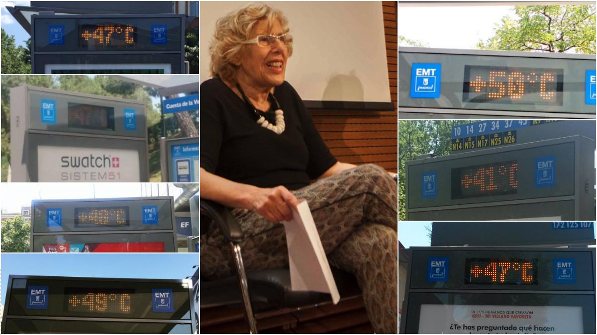 Termómetros de las marquesinas del Ayuntamiento de Carmena disparados estos días. (Fotos: TW, Madrid)