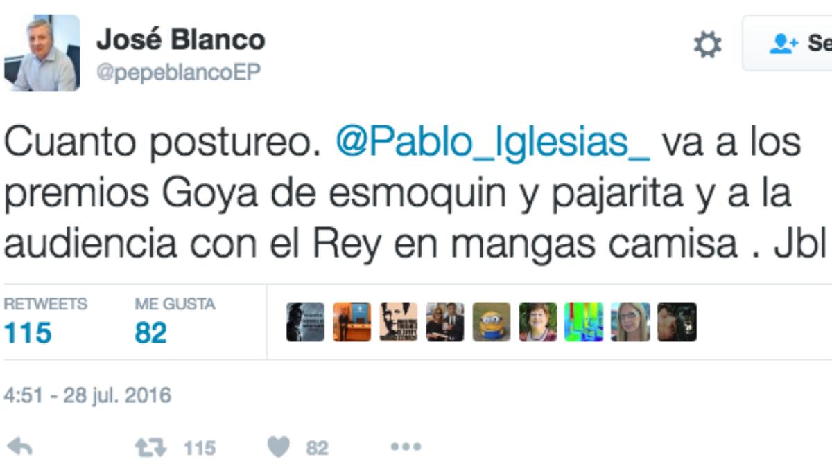 El mensaje del ex ministro José Blanco sobre la audiencia de Pablo Iglesias con el Rey Felipe VI.